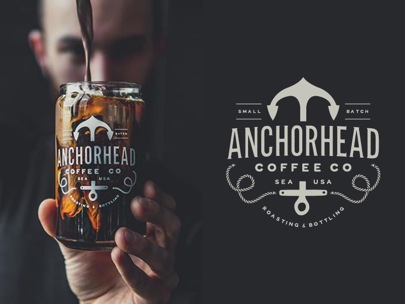 Anchorhead Coffee Co. seattle rope illustration typography classic vintage logo anchor product packaging coffee branding