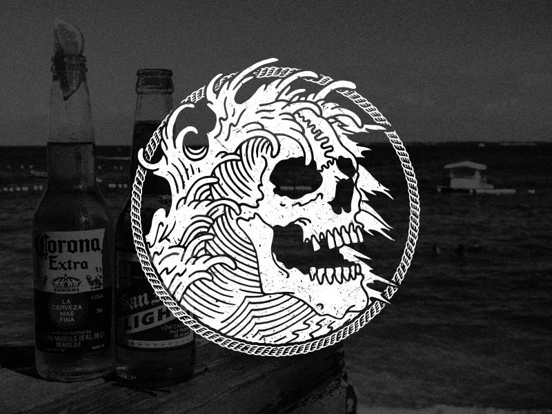 Vibes nautical aquatic teeth apparel water ocean wave illustration rope skull