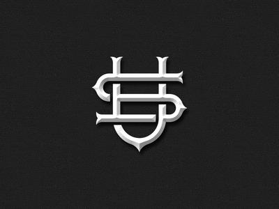 U.S. us typography chiseled monogram design logo monogram