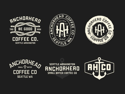 Anchorhead Tees distressed seattle coffee anchor nautical rope monogram badge classic branding apparel logo vintage illustration typography