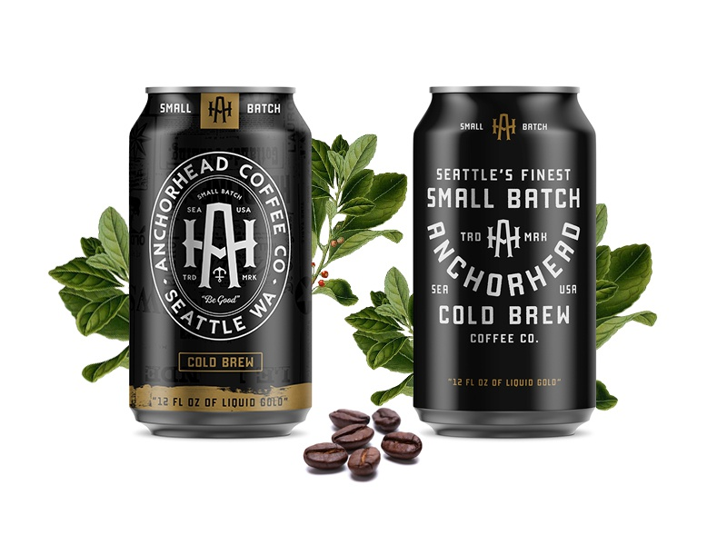 Anchorhead Cold Brew Packaging monogram logo monogram logo vector classic typography packaging design cold brew coffee can can design packaging branding