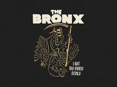 Too Many Devils tee shirt skull devil raven rock and roll reaper branding apparel illustration typography