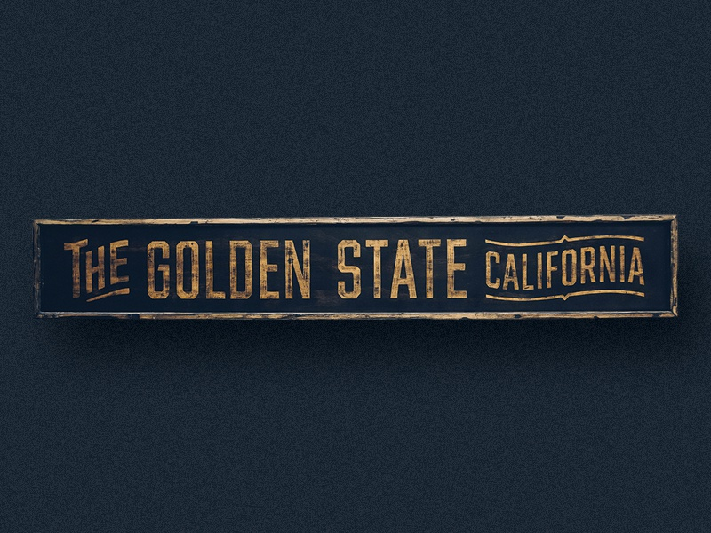 The Golden State california golden state gold hand painted handmade distressed classic typography signage