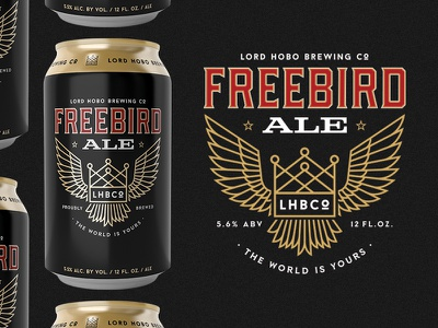 Freebird Ale eagle crown wings southern american beer can beer lord hobo freebird branding illustration typography