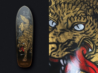 I Must Roll one shot gold distressed vintage illustration hand painted wolf skateboard graphics skateboard