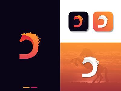 D + Horse Logo icon animal illustration new mark abstract animal logo horse logo gradient adobe illustrator graphic design logo trend design modern logo logo vector logo design
