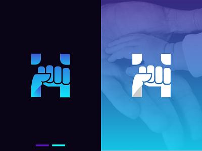 H Letter Mark  H + Hold adobe illustrator typography letter logo gradient hand logo minimalist logo letter mark graphic design illustration modern logo logo trend vector logo design logo design