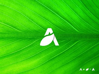 Letter A + Leaf Logo Concept minimalist logo branding design redesign food company vector leaf logo letter mark graphic design real estate nature modern logo logo trend logo logo design