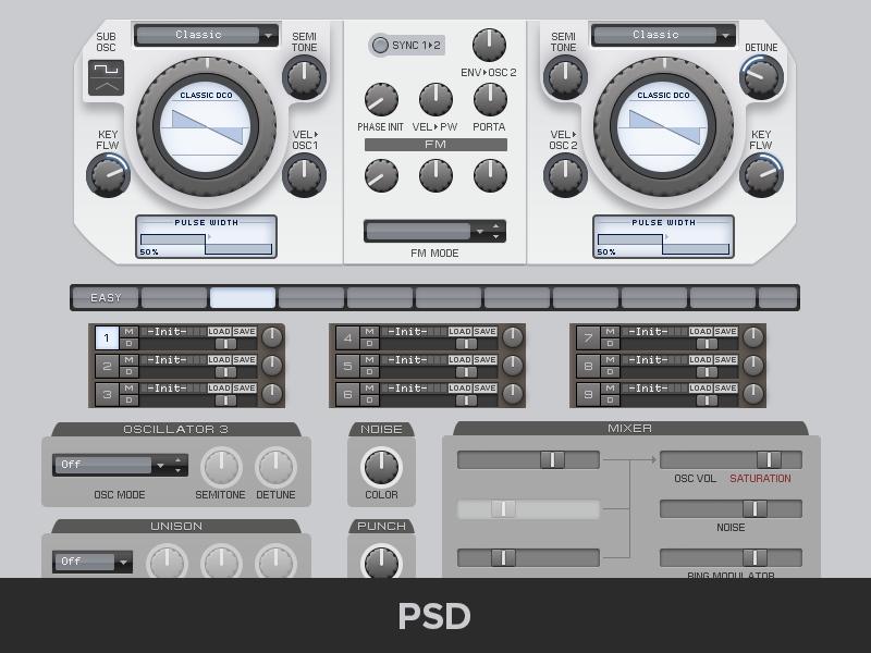 Freebie Virus ti ui kit freebie user interface audio au synth psd virus logic