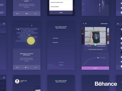 Prediction - Project summary [behance] onboarding intro table login analyze analytics graph insidebakers socialbakers prediction ios