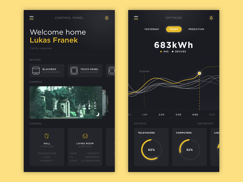 Truly Smart Home - meet homeOne dark ui fluent optimize control rooms dashboard graph yellow automation home smart