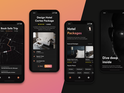 Travel with us. iPhone X. iphone x offers book hotel minimal taxi cards android ios app travel