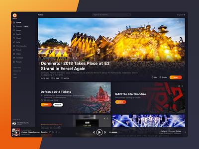 Q-dance Platform [Web App] merchandise news events player radio vod video music platform qdance q-dance