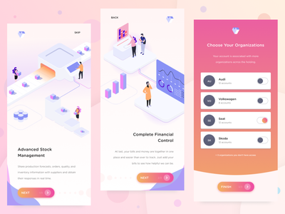 Onboarding for ERP app [iOS/Android] figma finance financial fintech management stock onboarding screens enterprise erp mobile minimal intro illustrations isometric app ios onboarding