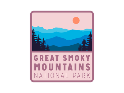 National Park Badge simple patch badge great smoky mountains mountains national park
