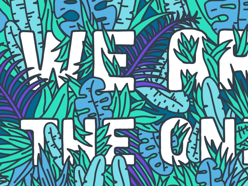 Quote Lettering Detail jungle palm leaves tropical lettering hand drawing typography illustration