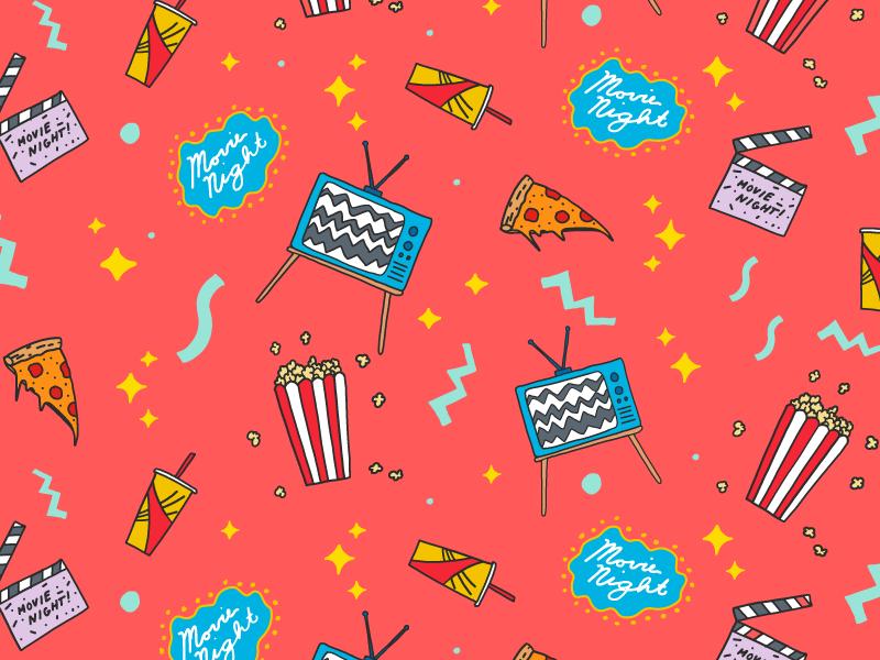 Movie Night Pattern digital drawing popcorn pizza movie tv food hand drawing icons illustration