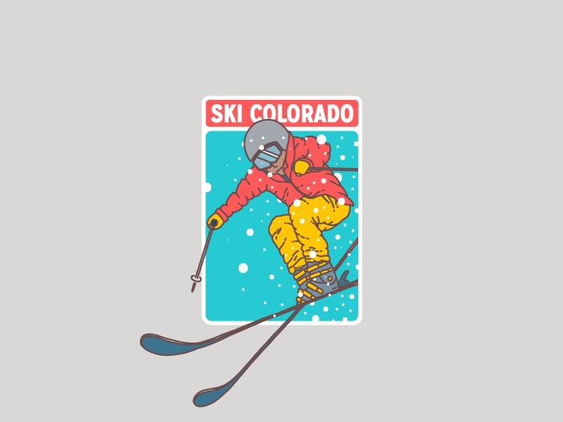 Ski Colorado patch badge sticker digital skier colorado illustration ski