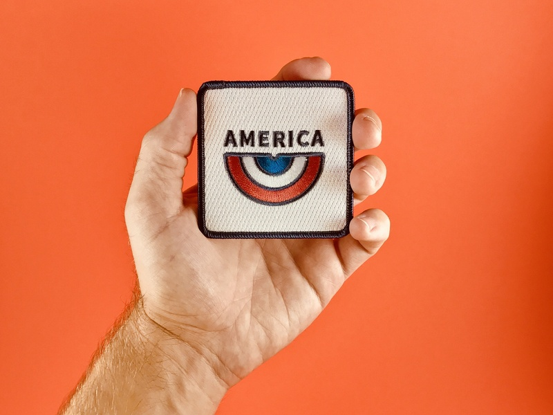 America Patch blue white red photgraphy hand usa rainbow america design store product patch badge
