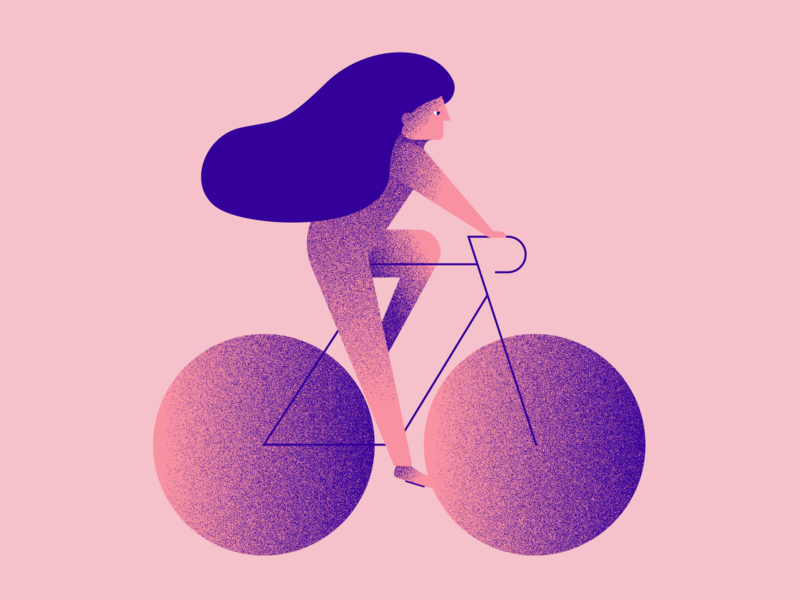 Biker Girl girl illustration pink bicycle bike biker vector design simple digital illustration
