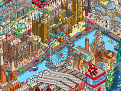 London: A Seek and Find isometric illustration infographic map cities city where is wally where is waldo london detail landscape panel advertising isometric design illustration pixelart pixel art isometric isometric illustration isometric art