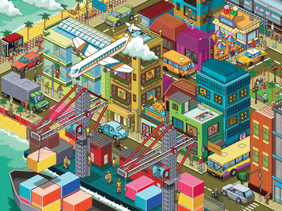 Small Isometric City for Moderna Publishing seek and find seek-and-find landscape where is wally where is waldo isometric art infographic cities map pixel art detail isometric advertising