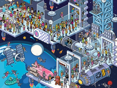 Space Station - Atrevida Magazine seek and find where is wally cities landscape where is waldo pixel art isometric art infographic map detail isometric advertising