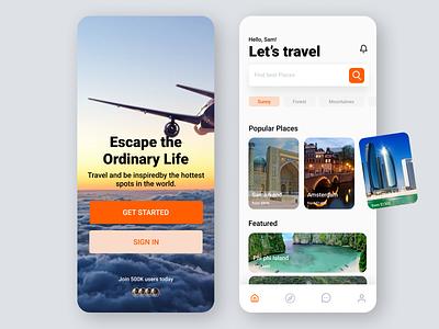 Travel App UI app design cards popular places places destination hotel booking app hotel booking travelling app traveling travel agency travelling travel app ui app travel