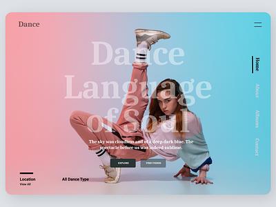 Dance Landing Page ui design