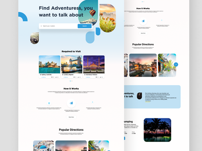Travelling Landing Page travel ui travelling travel website destination location tickets travel agency travel app travel design