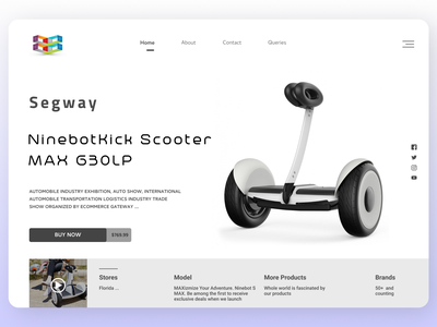 Electric Scooter Landing Page destination travel branding ui design