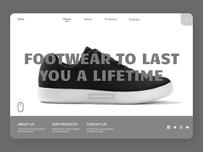 Footwear Landing Page branding ui design