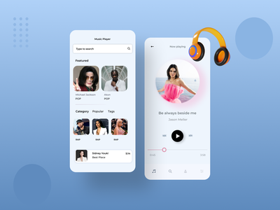 Music App Concept mobile app features design app design ui