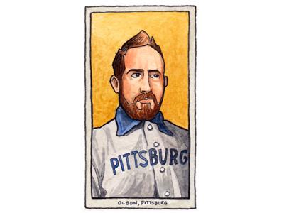Self Portrait as Honus Wagner baseball card baseball card trading card mlb vintage illustration yellow blue watercolor