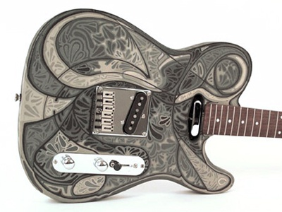 handpainted guitar body by michael e olson dribbble. Black Bedroom Furniture Sets. Home Design Ideas