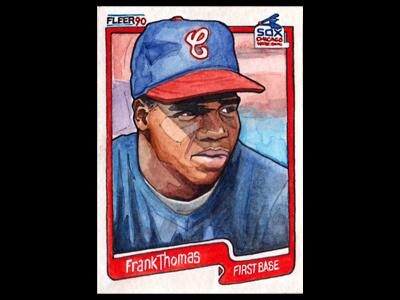 Hand painted Frank Thomas Baseball Card baseball cards frank thomas chicago baseball cards illustrated sports team majors paint watercolor paper