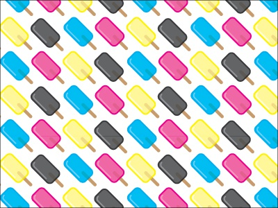 CMYK Popsicle Pattern pattern art ice melting adobe vector concept summer popsicles cmyk