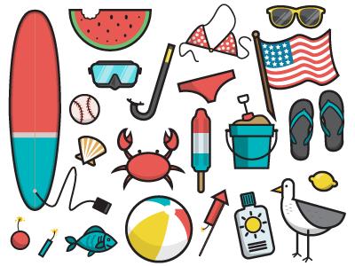 Summer Icon Set lemon pop snorkel mask surf flag seagull banner facebook black lines icons summer