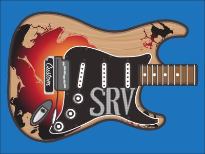 Stevie Ray Vaughn Guitar Vector pickup stratocaster strat blues srv illustrator adobe vector guitar