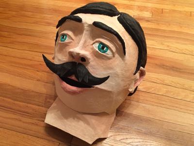 Paper mache big head moustache face sculpt paint wire flour paper head big sculpture paper-mache
