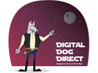 Digital Dog Direct Illustration digi social media marketing branding illustrator adobe death star han solo star wars digital dog direct