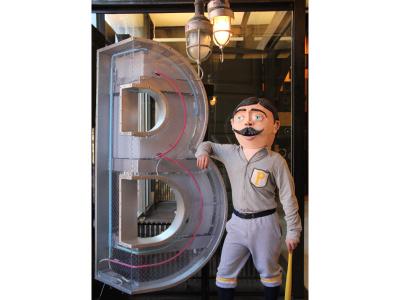 Big Head-Big Letter B navy yard big b face moustache mask art pennsylvania philadelphia philly sculpture head paper-mache