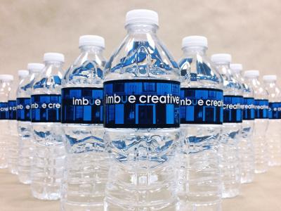 Agency Branded Water Bottles agencyswag logo company waterbottle customlabel custom label bottles water swag