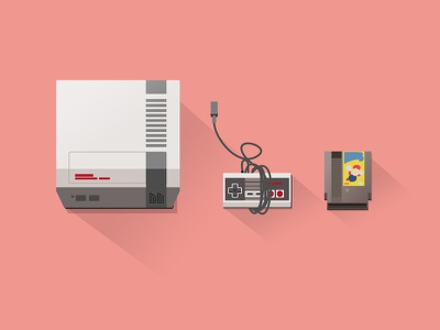 video game console illustration icon 80s nes