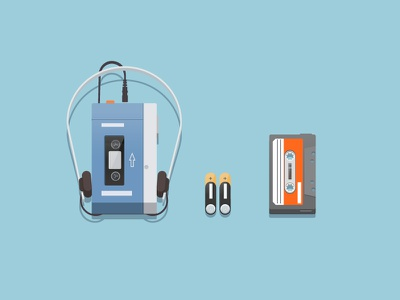 portable audio cassette player icon illustration 80s