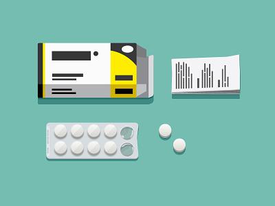 medipack illustration medicine paracetamol blister