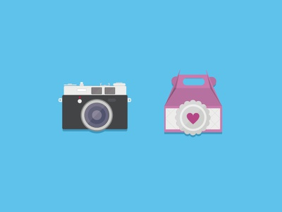 Icon set illustration icon gift camera