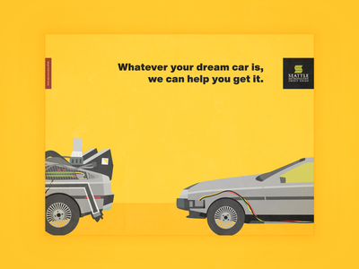 Back to the Future DeLorean - Whatever Your Dream Car Is auto loan banking credit union mcfly car graphic design postcard bank design illustration back to the future delorean