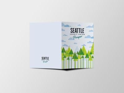 Greeting Cards thank you card clouds graphic design pacific northwest pnw illustration minimal design greeting card trees
