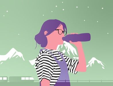 beauty is healthy women in illustration flat adobe illustrator vector illustration